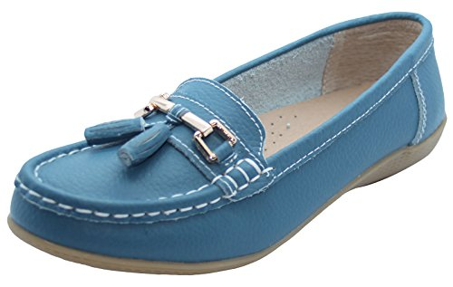 Jo & Joe Damenschuhe aus Leder, flache lässige Damenslipper, bequeme Schuhe mit niedrigem Keilabsatz, Arbeitsschuhe Blaugrün