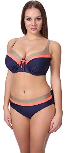 Merry Style Bikini Set per Donna P62378TSG Navy/Corallo/Oro