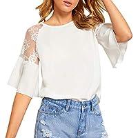 Xinxinyu Mujer Blusas Hueco Medias Mangas, Cuello Redondo Tops Blanco Elegante Oficina Camiseta, Otoño Casual Vacaciones Pullover Abrigos (S, Blanco)