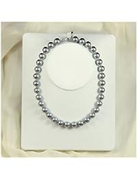 Schmuckwilly Muschelkernperlen Perlenkette Perlen Collier - silbergrau Hochwertige Damen Halskette aus echter Muschel 12mm mk12mm138