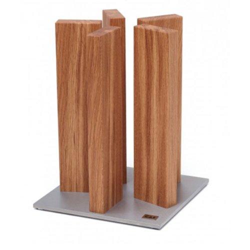 Kai sth-3 stonehenge - blocco portacoltelli magnetico, in acciaio inox e legno di rovere