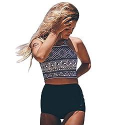 TWIFER Damen Falbala High Waist Bikini Set Push Up Neckholder Badeanzug