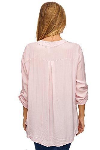 JillyMode Elegante Damen Tunika für Alltag oder Büro Uni Farbe A1028 Rosa