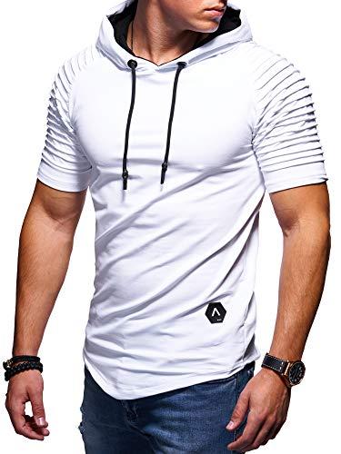 behype. Herren Kurzarm Biker T-Shirt Sweatshirt Hoodie mit Kapuze 20-0081 (M, Weiß) - Mit Kapuze Slim Fit Pullover