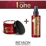 RevlonProfessional –Mascarilla Uniq One 300ml + pulverizador 150ml, cuidado capilar para cabello seco y castigado, todo en ununo, gama Revlon Professional