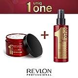 revlon - uniq one - masque : 300ml + spray : 150ml - Soin Capillaire pour Cheveux Secs et Abimés Tout en Un - gamme revlon professional
