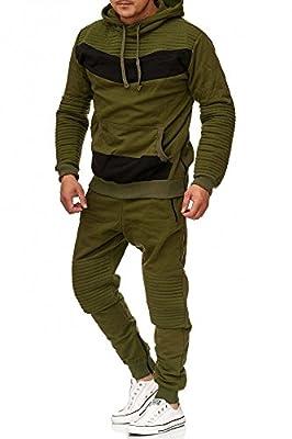Herren Jogging-Anzug | Leder Design 610 | Trainings-Anzug aus 100% Baumwolle | Kapuzen-Pullover, Jogging-Hose | Rippstrickbündchen, Tunnelzug mit Zugband | Sport-Anzug mit Bauchtasche | S-XXL