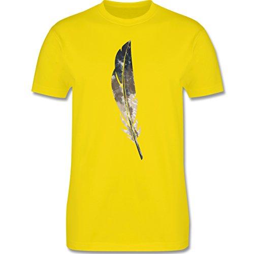 Statement Shirts - Wasserfarben Feder - Herren Premium T-Shirt Lemon Gelb