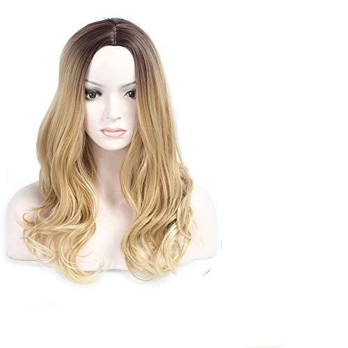 Perruque de cheveux longs bouclés teints dégradés pour femme