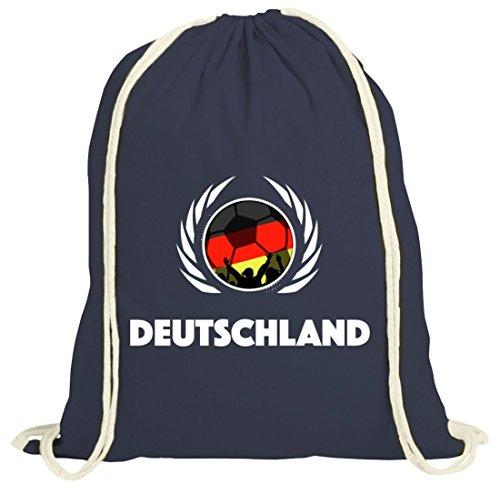Germany Wappen Soccer Fussball WM Fanfest Gruppen Fan natur Turnbeutel Gym Bag Fußball Deutschland dunkelblau natur