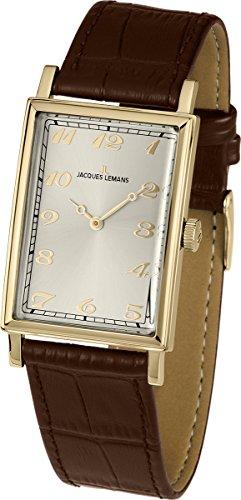 4334b55eca35 Jacques Lemans Jacques Lemans Nostalgie - Reloj analógico de caballero de  cuarzo con correa de piel marrón - sumergible a 50 met