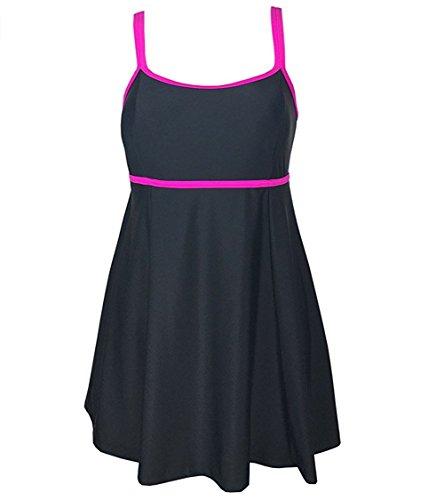 BLZ Alta Qualità Costumi da Bagno Donna Intero Nero Mare Costume Premaman Taglia Forti Stile Gonna Abito da Spiaggia con un Mutande XL 6XL