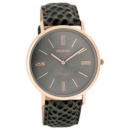 Oozoo Damen Analog Quarz Uhr mit Leder Armband C7354