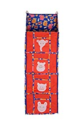 Baby Grow 4 Step Kids Toys Cloth Stoarge Hanging Rack Cute Color Cotton Cupboard (RED)