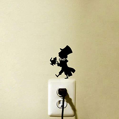 ZHOUMIYU Vinyl Schalter Aufkleber Aufkleber Mad Hatter Fashion Home Tür Aufkleber Wandaufkleber Vinyl Lichtschalter Aufkleber