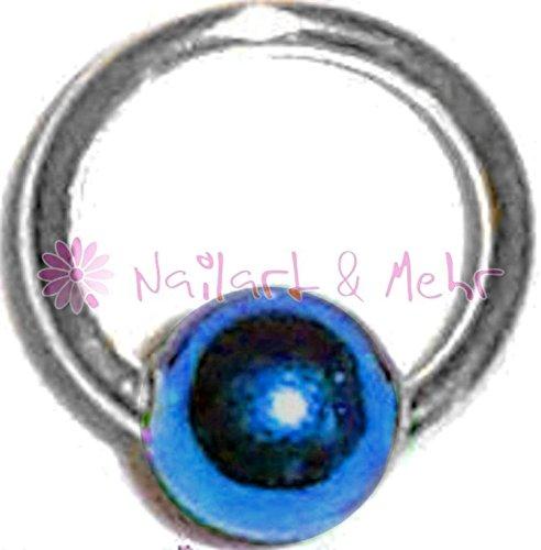 (Fingernagel-/Nailart Piercing-Kugel, STERLING-SILBER, Kugel: BLAU, 4mm, #NP-102)
