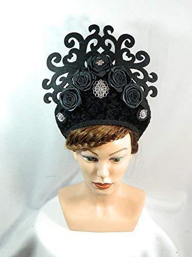 French Hood schwarz Samt Gothic Fantasy Attifet Stuarthaube Haube Tudor Mittelalter Kokoshnik Prinzessin Anne Boleyn (Traditionelle England Kostüm)