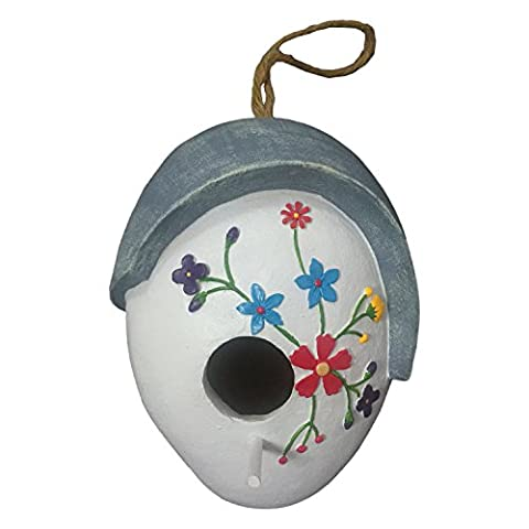 WildBird Care Resin Hanging Bird House with Flower (Cobble Stone)