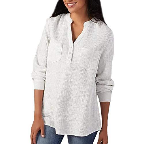 Alwayswin Bluse Frauen Langarm Oberteile Baumwolle T-Shirt Plus Size Lose Freizeithemd Damen V-Ausschnitt Lässiges T-Shirt Leinenhemd Einfarbig Karriere Bluse Tank T-Shirt Tunika -