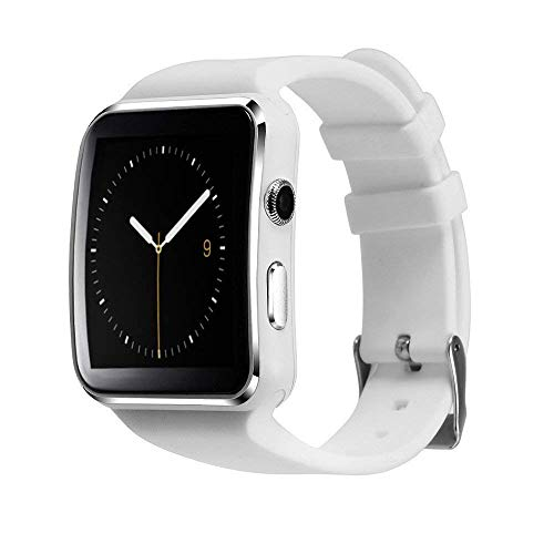 MAKECELL Smart Watch X6 Smartwatch Sports Watch Bluetooth with Camera FM & SIM Card Support (White)