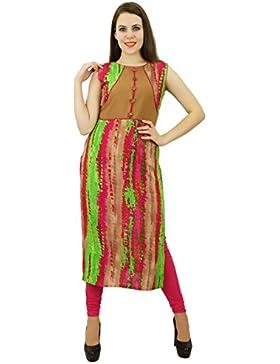 Phagun Rayón Kurti de mujeres de origen Kurta lazo y tinte de impresión diseñador del vestido ocasional