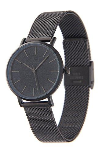 Schwarzen Kropf (Leslii Premium Watch Edelstahl Meshband Schwarz | moderne Damen-Uhr | elegant modern zeitlos)