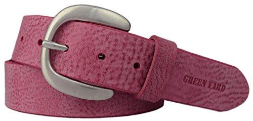 Green Yard Exklusiver Samtweicher Damen Ledergürtel, 4 cm Breite, Pink, 90 cm (Gesamtlänge 105 cm)