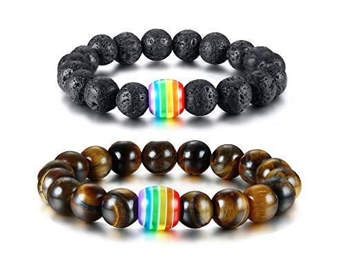 mit 2 Liebe ist Liebe Armband Gay Pride Tigerauge Stein Perlen Regenbogen Armbänder, Lava Rock Regenbogen Gay Pride Armband ()