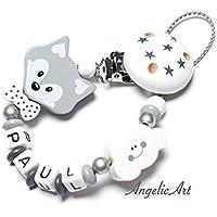 Schnullerkette -Junge -Fuchs - Grau - Weiß perle