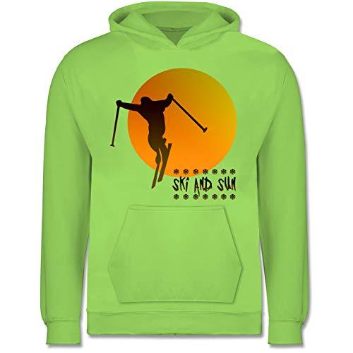Sport Kind - Ski and Sun - Skifahrer - 9-11 Jahre (140) - Limonengrün - JH001K - Kinder Hoodie