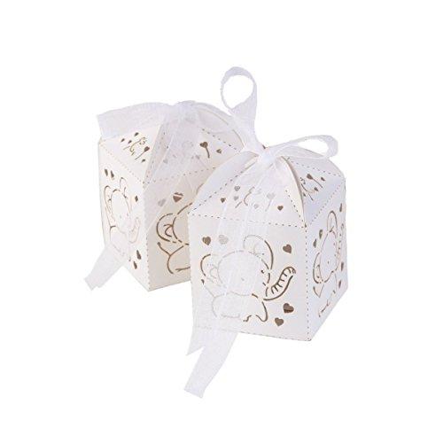 Baby Shower cajas de caramelos, 50pcs bebé nacimiento cumpleaños regalo chocolete cajas con cinta accesorios (elefante blanco)