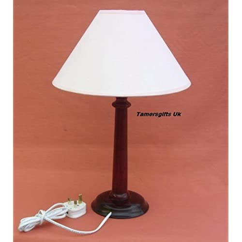 Table lamps wood base amazon 2 x traditional mahogany wood table lamp bases shades aloadofball Images