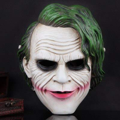 Dodom Joker Mask Realistische Batman Clown Kostüm Halloween Maske Erwachsene Cosplay Film Full Head Harz Party Maske, Bild Farbe (Batman, Lange Halloween-joker)