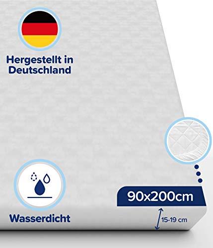 Pure Living wasserdichter Matratzenschoner 90x200 (Matratzendicke 15-19 cm) - undurchlässige Matratzenauflage - Schützt auch die Seiten - Premium Molton Matratzenschutz ohne Knittergeräusche