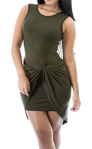Bigood Robe Sans Manche Femme Sexy Pull Moulant Coton Col Rond Soirée Clubwear Cocktail Mode Vert