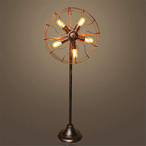 Vintage Industrial Fan Lampe Retro Stehleuchte Wire Metal Cage Standleuchten für Home Decor Studio, 1.42m,A