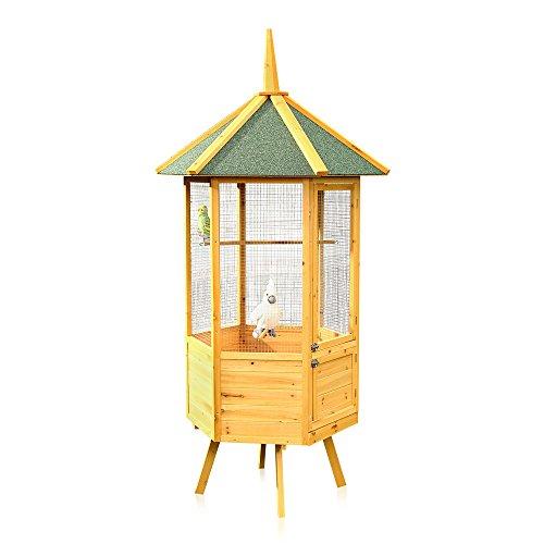 Melko Vogelvoliere XXL 6-Eck Vogelkäfig Vogelhaus aus Holz, 74 x 74 x 194 cm, braun