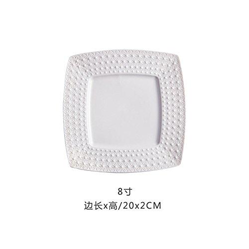 SunyixinNiuB Keramische Teller,Teller,quadratische Teller,Steakplatten,Fruchtsnacks,Hausgerichte,Weiße 8-Zoll-Scheibe - Weiße China Quadratische Teller,
