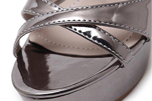 Beauqueen Sandali Eleganti Piattaforma Di Nozze PU Artificiale Cavità X-cinghie Stiletto Alta Tacco Fibbia Casual Nightclub Bar Sandali gun color