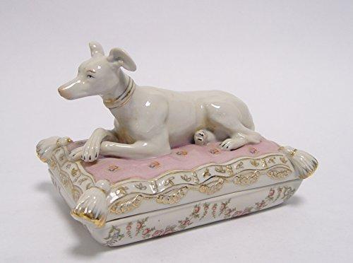 porzellan-schmuckdose-schatulle-hund-kissen-windhund-greyhound-whippet-vintage-h-12-cm