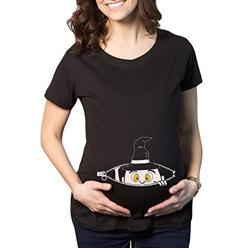 Q.KIM Camiseta de Maternidad Halloween Elasticidad Embarazada Camiseta Ropa Premamá Calabaza Estampado-Estilo 8 M