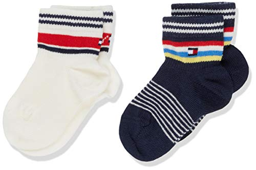 Tommy Hilfiger Unisex TH Baby 2P Stripes Socken, Mehrfarbig (Blue White 275), 23-26 (Herstellergröße: 023) (2erPack) (Blue-stripe-socken)