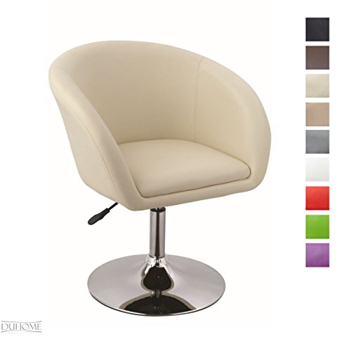 Duhome Elegant Lifestyle Sessel Creme Höhenverstellbar Esszimmerstuhl Kunstleder Clubsessel...
