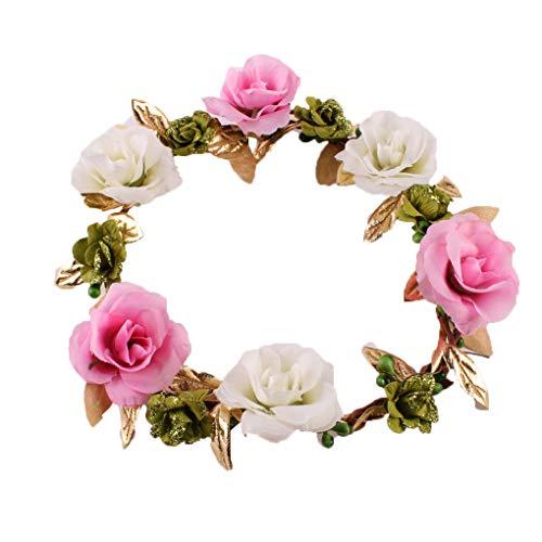 Hotaluyt Kleine Mädchen-künstliche Blumen-Stirnband-Stoff-Kranz-Haarband handgewebte Blumen Hoop Haarschmuck