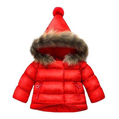 Hibote Mädchen Mäntel Baby Mit Kapuze Herbst Winter Warme Dicke Baby Kinder Kleidung Jacke Oberbekleidung Rot 6-12Monate (Warme Mädchen Kleidung)