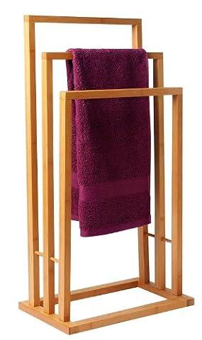 Bambus Handtuchständer mit 3 Stangen - Handtuchalter aus
