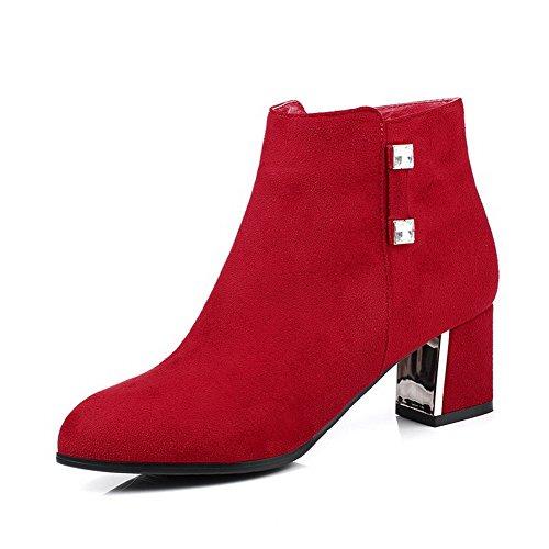 VogueZone009 Damen Mittler Absatz Mattglasbirne Niedrig-Spitze Rein Stiefel Rot