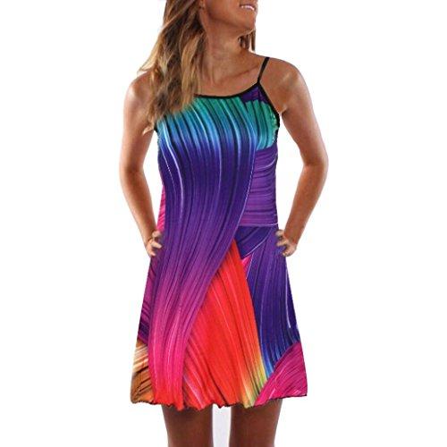 VEMOW Sommer Elegante Damen Frauen Lose Vintage Sleeveless 3D Blumendruck Bohe Casual Täglichen Party Strand Urlaub Tank Short Mini Kleid(Mehrfarbig, EU-38/CN-M)