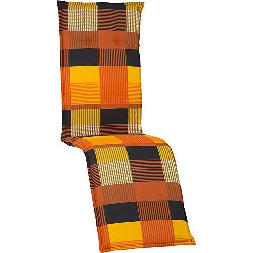 nxtbuy Auflage für Relaxliegen Barcelona 171x50x6cm - Liegenauflage mit Komfortschaumkern und Bezug - Sitzpolster für Gartenliegen, Dessin:Orange Patchwork