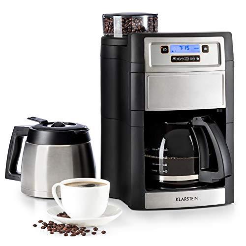 Klarstein Aromatica II Duo máquina de café con molino • Máquina de café con filtro • 1000 W • Jarra de vidrio 1,25 litros • Programable 24 horas • Filtro de carbón activo permanente • Plateado